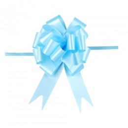 Niebieskie wstążki ściągane w kokardy do pakowania dekoracji 10 szt