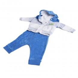 Modny welurowy dresik dres niemowlęcy rozm.74 niebieski