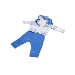 Modny welurowy dresik dres niemowlęcy rozm. 62 niebieski