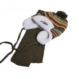 Komplet zimowy dla chłopca czapka i szalik USZATKA ciemnozielona