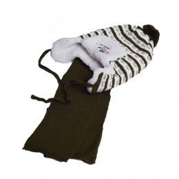 Komplet zimowy dla chłopca czapka i szalik USZATEK ciemnozielona