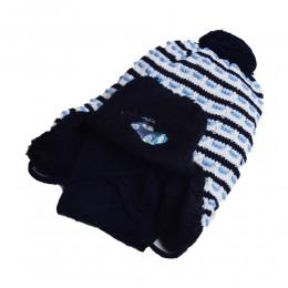 Komplet zimowy dla chłopca czapka i szalik USZATKA granat