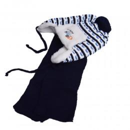 Jasnoniebieski komplet zimowy dla chłopca czapka i szalik USZATKA