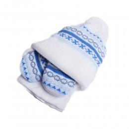 Zimowa czapka niemowlęca z szalikiem i rękawiczkami niebieska