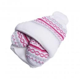 Zimowa czapka niemowlęca z szalikiem i rękawiczkami biała