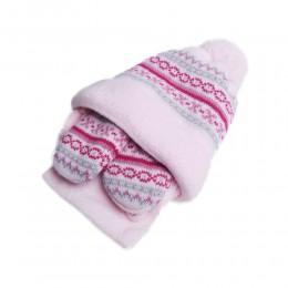 Zimowa czapka niemowlęca z szalikiem i rękawiczkami różowa