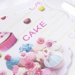 Taca śniadaniowa z rączkami taca plastikowa duża prostokątna CAKE
