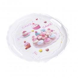 Taca śniadaniowa / taca plastikowa okrągła z rączkami CAKE