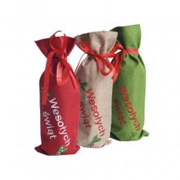 Świąteczne ubranko na butelkę / worek torba na wino cukierki
