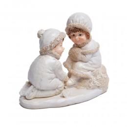 Figurka chłopiec i dziewczynka na łyżwach dekoracja świąteczna
