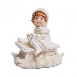 Figurka bożonarodzeniowa dziewczynka na sankach dekoracja świąteczna