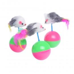 Zabawka dla kotów niewychodzących myszka na piłce wańka wstańka