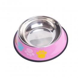 Duża metalowa miska dla dużego psa na gumie 1200 ml różowa w łapki