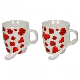 Zestaw kubków na Walentynki dla pary + łyżeczki SERDUSZKA