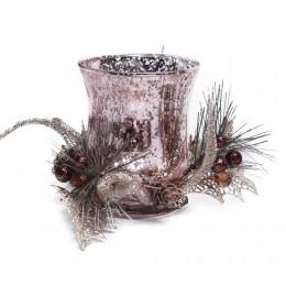 Duży szklany świecznik lampion tealight dekoracja Boże Narodzenie