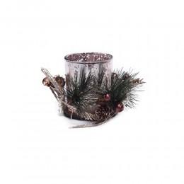 Szklany świecznik lampion tealight dekoracja Boże Narodzenie