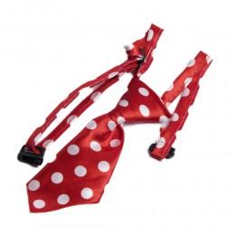 Krawat dla psa kota święta wesele czerwony w grochy obwód szyi 40cm