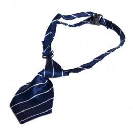 Krawat dla psa kota święta wesele granatowy w białe paseczki 40cm