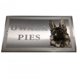 Tabliczka nierdzewna pies owczarek niemiecki / tabliczka ostrzegawcza pies