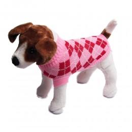 Ubranko sweterek dla małego psa na zimę różowy w romby
