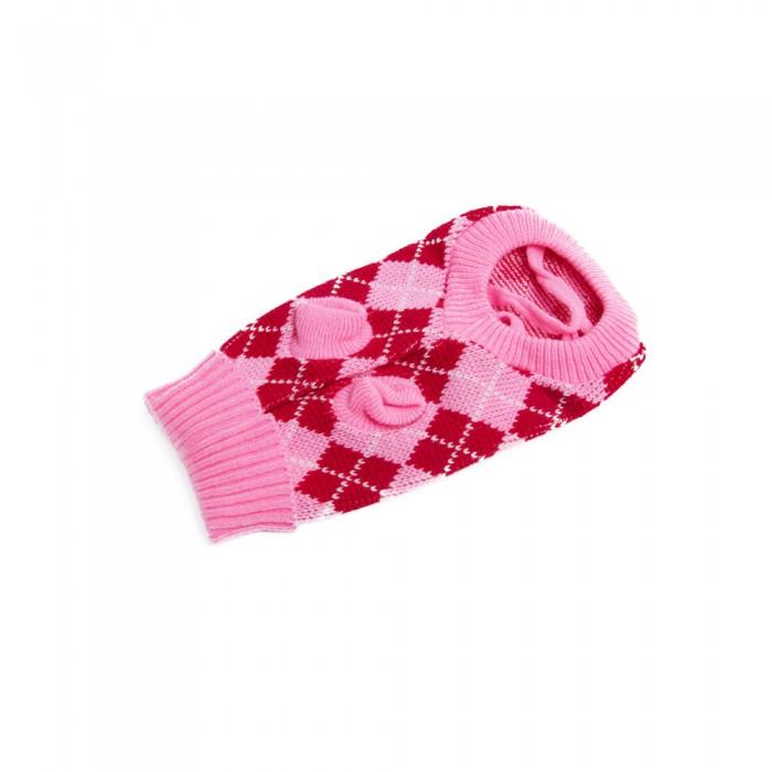 Ciepły różowy sweterek z golfem dla psa na zimę