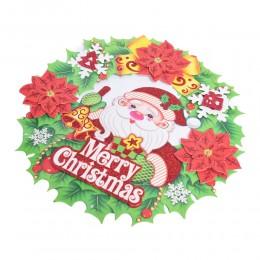 Dekoracja 3D wianek świąteczny na drzwi okno Mikołaj