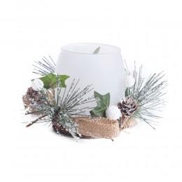 Szklany świecznik lampion na świeczki tealight dekoracja na Boże Narodzenie