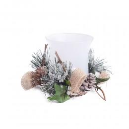 Szklany świecznik na prezent lampion tealight dekoracja na Boże Narodzenie