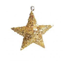 Duża złota gwiazda z cekinami ozdoba dekoracja świateczna