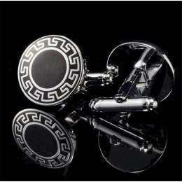 Spinki do mankietów czarno-srebrne z greckim ornamentem