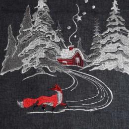 Ciemnoszary bieżnik świąteczny na Boże Narodzenie / nakładka na stół