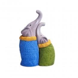 Kolorowa figurka dekoracyjna słoń para słoni / figurka słonia