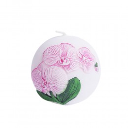 Świeca kula biała okrągła świeczka dekoracyjna storczyk