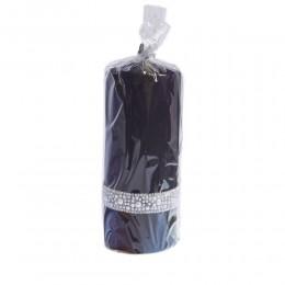 CRYSTAL świeca z perełkami i cyrkoniami czarna walec duży wys. 17 cm