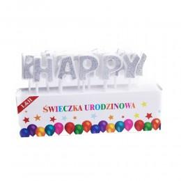 Srebrne świeczki urodzinowe HAPPY BIRTHDAY literki PIKERY