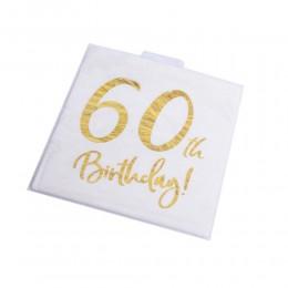 Serwetki papierowe urodzinowe na 60 urodziny białe 33x33cm