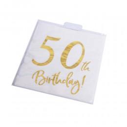 Serwetki papierowe urodzinowe na 50 urodziny białe 33x33cm