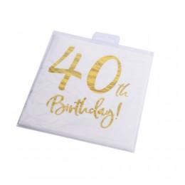 Serwetki papierowe urodzinowe na 40 urodziny białe 33x33cm