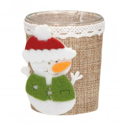 Świecznik lampion świąteczny szklany z bałwankiem