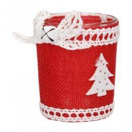 Świecznik lampion świąteczny szklany z choinką