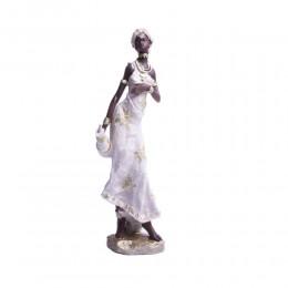 Dekoracje do salonu figurka stojąca Masajka Murzynka w białej sukni