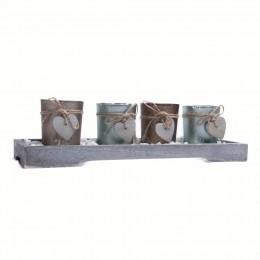 Dekoracja na stół zestaw świeczników tealight drewniana podstawka