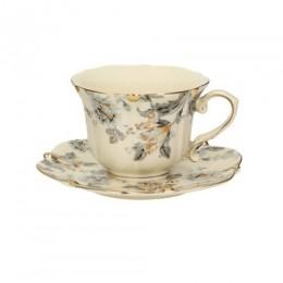 Ekskluzywna złocona filiżanka do kawy i herbaty ECRU Z SZARYM