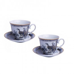 2 grube filiżanki do kawy i herbaty na prezent PAW NIEBIESKI