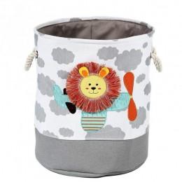 Szary pojemnik na zabawki kosz worek na pranie toys LEW