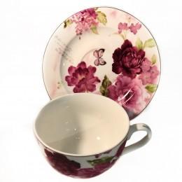 Filiżanka ze spodkiem do kawy i herbaty na prezent PIWONIE piwonia