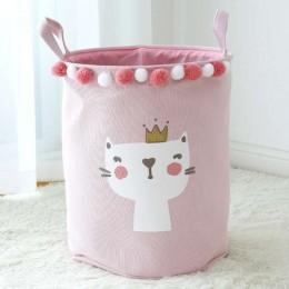 Różowy pojemnik na zabawki z pomponikami kosz worek na pranie