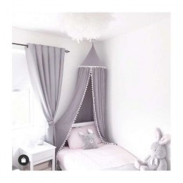 Duży baldachim do łóżeczka szary z pomponami / wiszący namiot