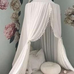 Namiot baldachim na łóżko dziecięce koronka biały duży tiulowy