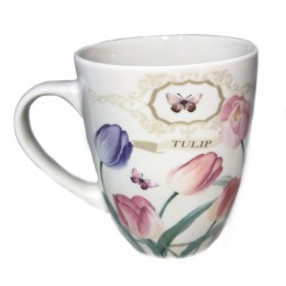 Biały ceramiczny kubek na kawe i herbatę 400 ml TULIPANY